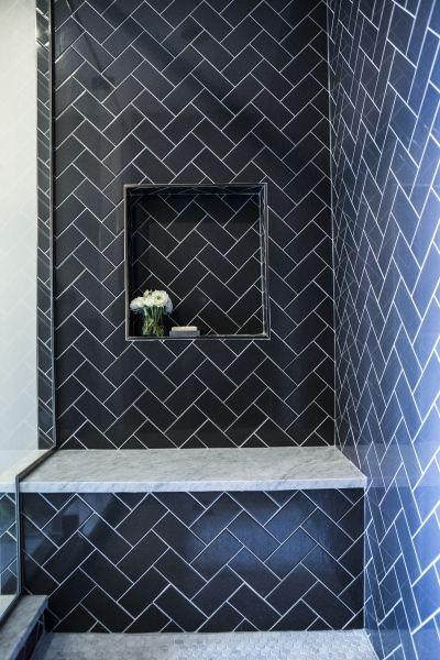 Contemporary Shower Features Navy Herringbone Tiles