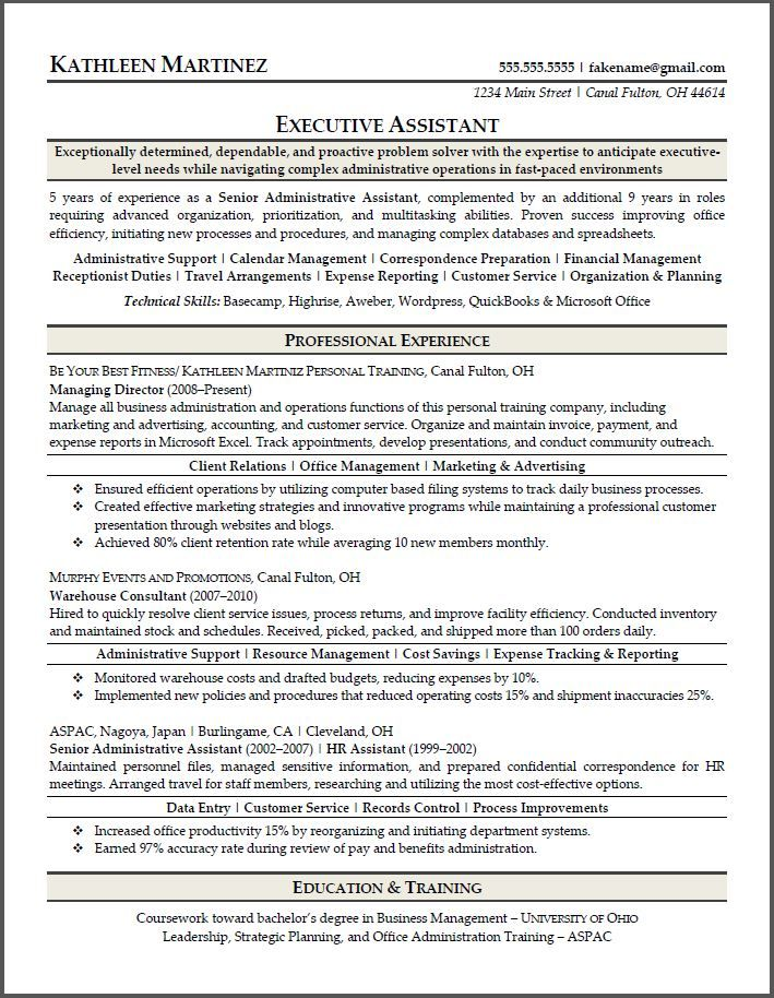 Resume Sample For Executive Assistant Resumesdesign Cover Letter For Resume Sample Resume Sample Resume Format