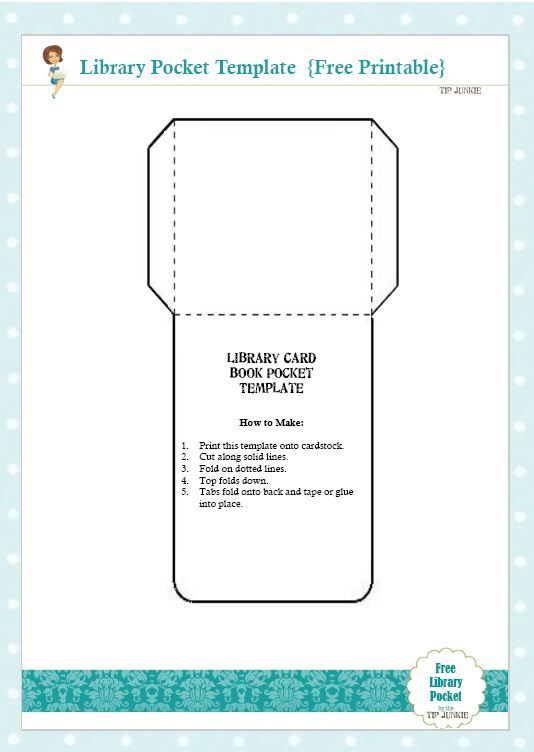 Free Library Card Book Pocket Template Printable - Tip Junkie - free postcard templates for word