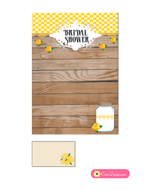 free printable rustic bridal shower invitation template yellow