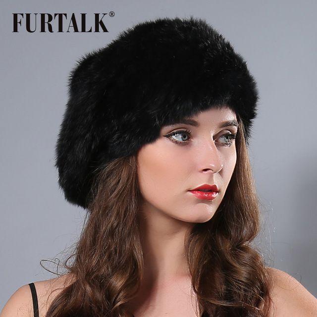 Fur talk hand knited Flexible natural rabbit fur bobble hat beret Russian winter  fur hats for women  FURTALK  berets  women berets  stylish berets  style    ... 006c07a5349e