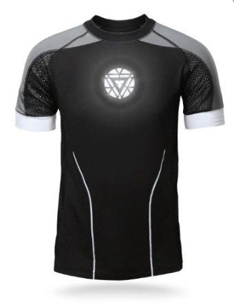 Iron Man 3 Deluxe Hero Tony Stark Light-Up LED Shirt - Official Marvel  Licensed TShirt - Arc Reactor Glows - Black Gray and White t-shirt - (XS)
