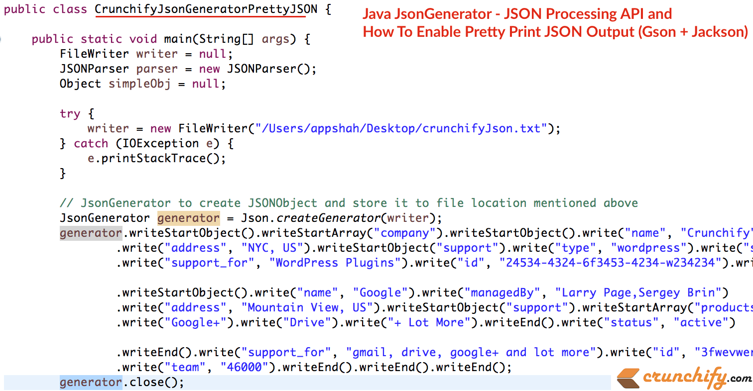 Java JsonGenerator - JSON Processing API and How To Enable Pretty ...