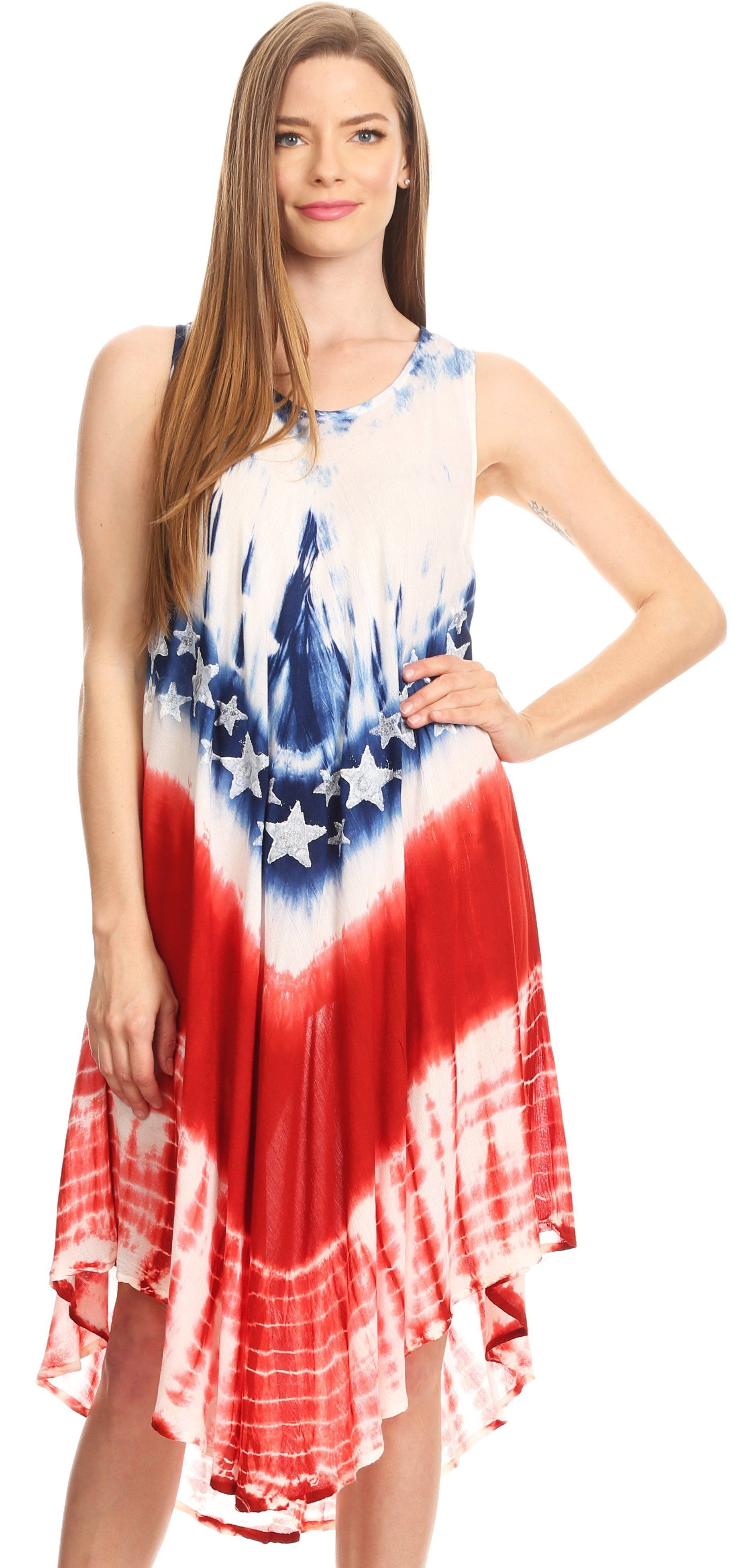 Sakkas Irina Stars And Stripes Patriotic Tie Dye Summer Tank Dress Casual Simple Summer Tank Dress Dresses Casual Dresses [ 3906 x 1863 Pixel ]