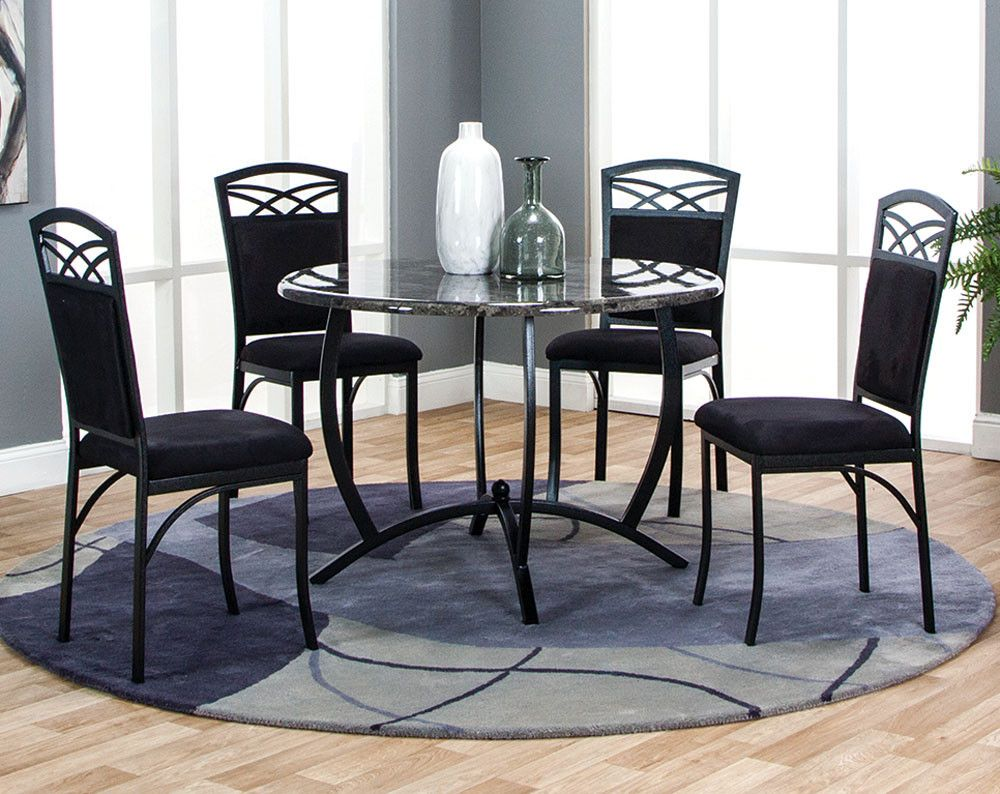 Black Marble Tabletop Chairs Electra Five Piece Dining Set American Freight