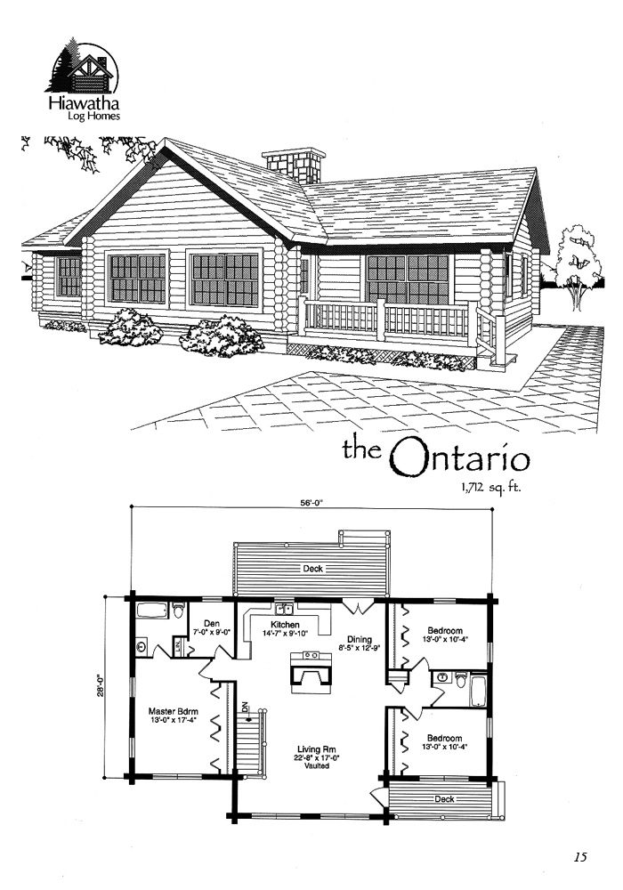 Our Ontario Log Home Floor Plan Features 1 712 Sf Log Home Floor Plans Floor Plans House Plans