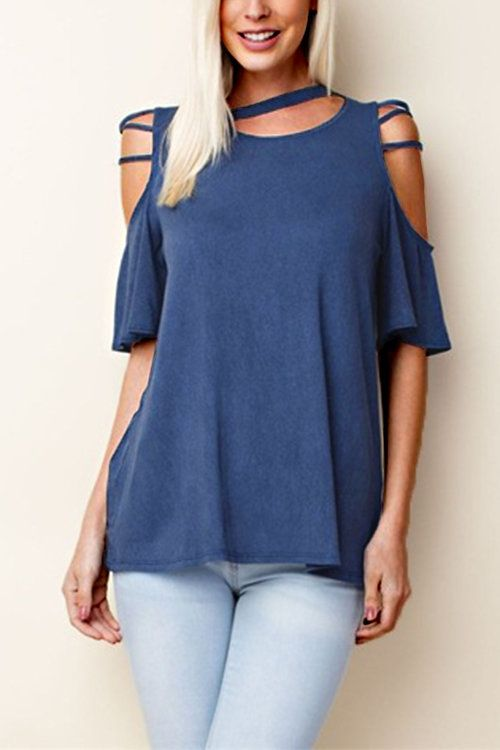 Simple is best! This cold shoulder top is a great basic that features a round neckline, half sleeves with cold shoulder detailings. Style it with basically anything! We recommend a high waisted denim jeans and flats.