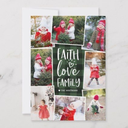 Faith Love Family | Multi Photo Collage Holiday Card - love gifts cyo personalize diy