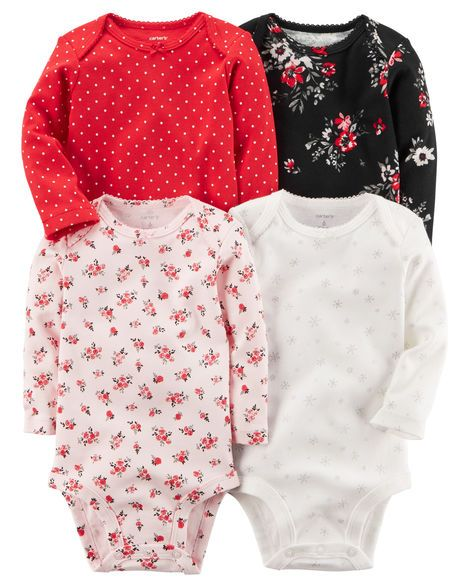 aeae364deda Baby Girl 4-Pack Long-Sleeve Original Bodysuits from Carters.com. Shop