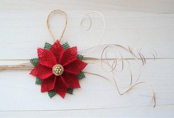 Rustic Burlap Poinsettia Flower Christmas Ornaments Set Of 5 Hanging Christmas Tree Poinsettia Flower Rustic Christmas Tree