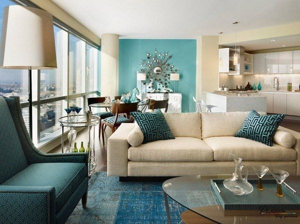 teal and brown living room set contemporary open plan accent wall white sofa armchair pillows color decor colored furniture