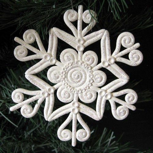 Snowflake Christmas Ornament Polymer Clay White Glitter | KaelMijoy - Seasonal on ArtFire