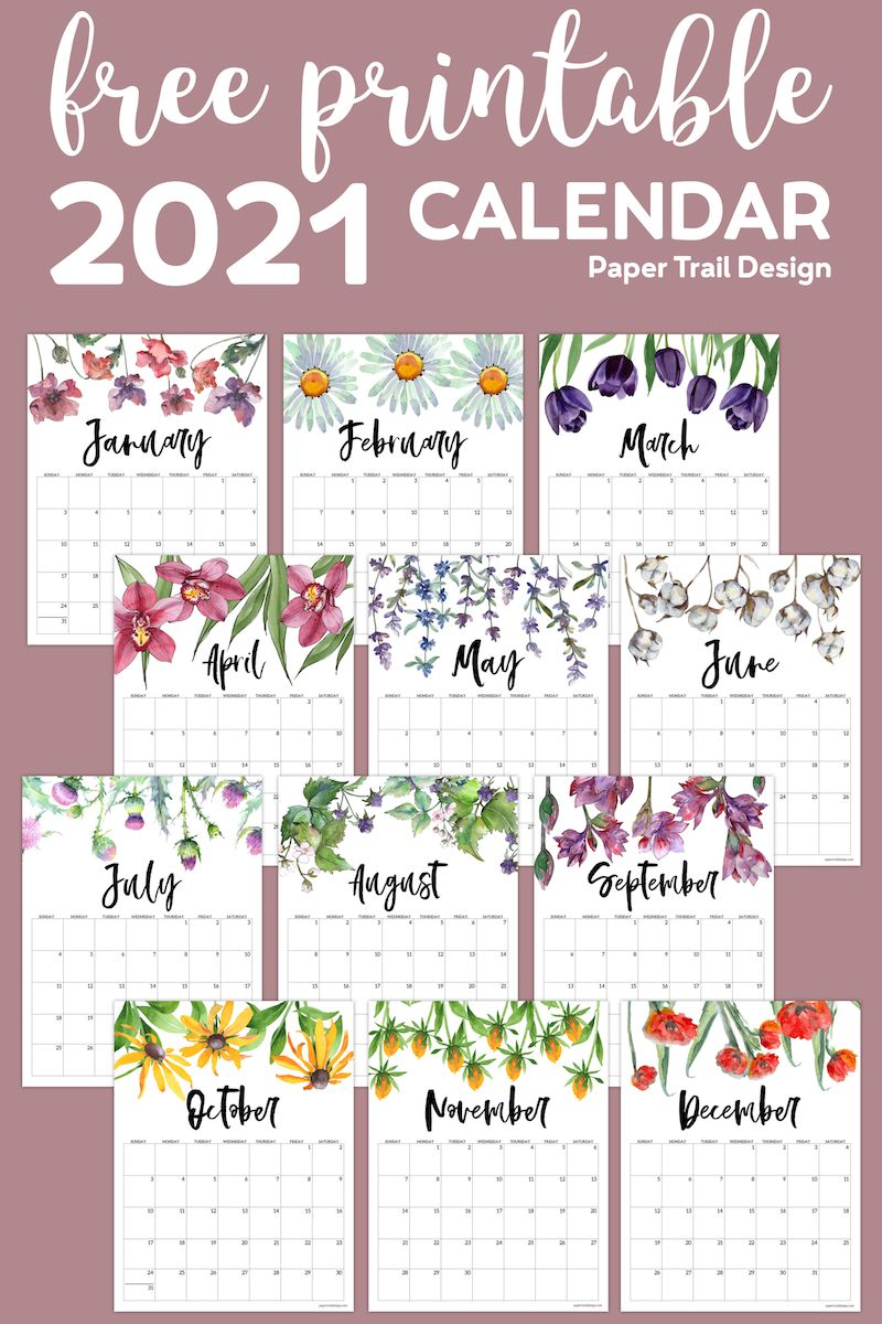 2021 Free Printable Calendar   Floral | Paper Trail Design in 2020