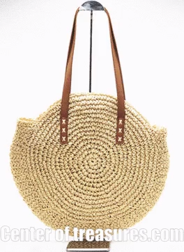 Photo of 🎁 Sale 🛍️ Round Straw Beach Bag Vintage Handmade Woven Shoulder Bag Raffia circle