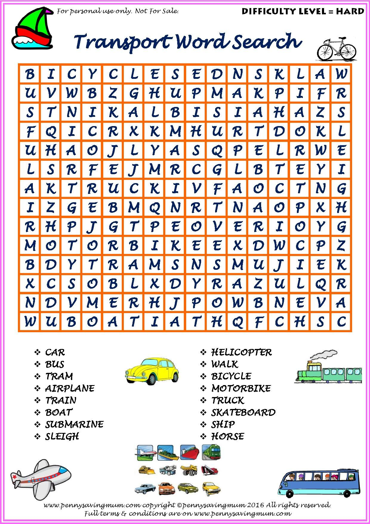 Word Search Transport Hard Version