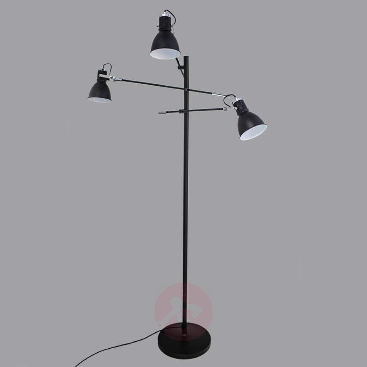 3 Punktowa Lampa Stojąca Pigalle Czarna Lampy Stojące W
