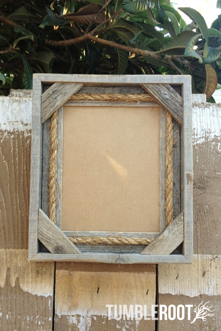 reclaimed up cycled handmade rustic barnwood frame with rope detail 8x10