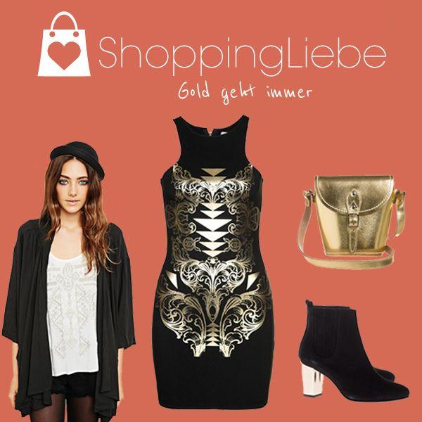 Unser heutiges Motto lautet: Gold geht immer. Ob chic oder casual, Gold wertet alles auf.  Kleid: http://shoppingliebe.de/goto/dWCtYzAmmu Tasche: http://shoppingliebe.de/goto/N7xpKYTaqu Schuhe: http://shoppingliebe.de/goto/EcJ1UobtS5 Kimono: http://shoppingliebe.de/goto/4AmanAoXVm Hut: http://shoppingliebe.de/goto/bYw6rx4m0W