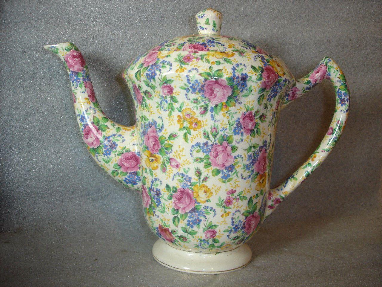 James Kent Rosalynde Chintz 2 Pint Coffee Pot Teapot Vintage 1930s