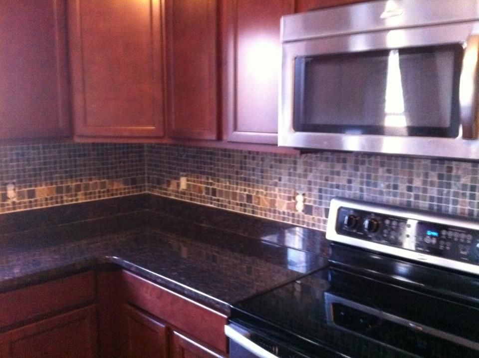 Finished Our Backsplash Tan Brown Granite Dark Cherry Cabinets And Slate Transforms Whole Kitchen
