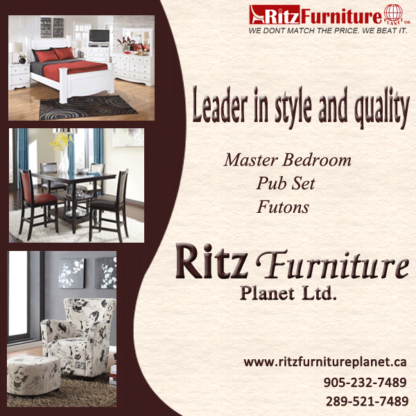 Our furniture is perfect for your home or flat. - Master Bedroom - Pub sets - Futons Get all designer furniture from  Ritz Furniture Planet Ltd Take a look at new designs on our website: http://www.ritzfurnitureplanet.ca/ you can also call @ 289-521-7489. #FurnitureMississauga #ModernFurnitureMississauga #FurnitureStoresMississauga #RitzFurnitureMississauga #modernfurniture #livingroomfurniture #masterbedroom #pubsets #futons
