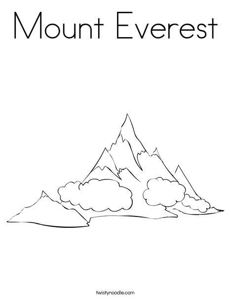 Mount Everest Coloring Page Twisty Noodle Mountain Printable