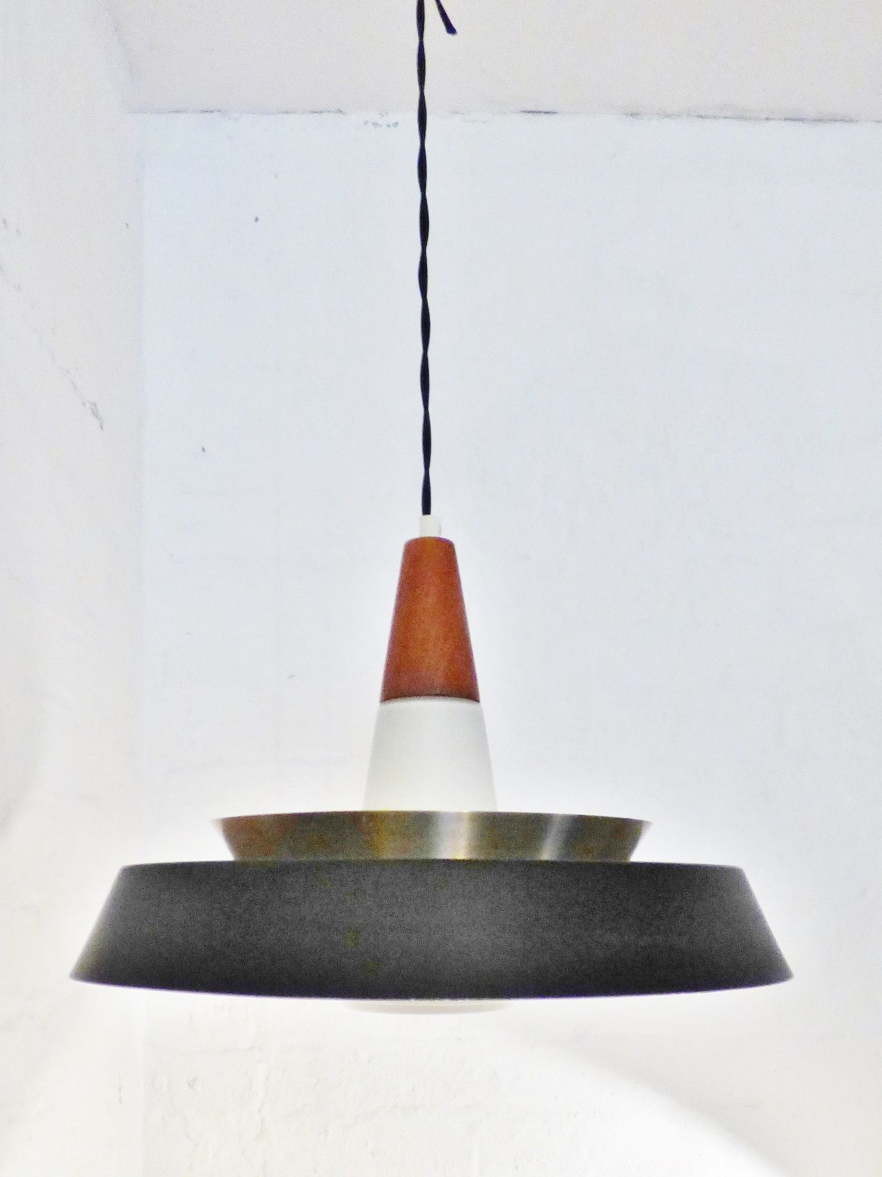 1950s Danish Teak Br Aluminium And Gl Pendant Lamp Www Archivefurniture Co Uk