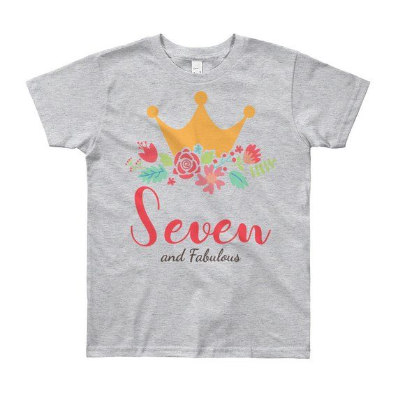 7th Birthday Shirt Girl Floral Seventh Outfit Seven Year Old Gift Crown