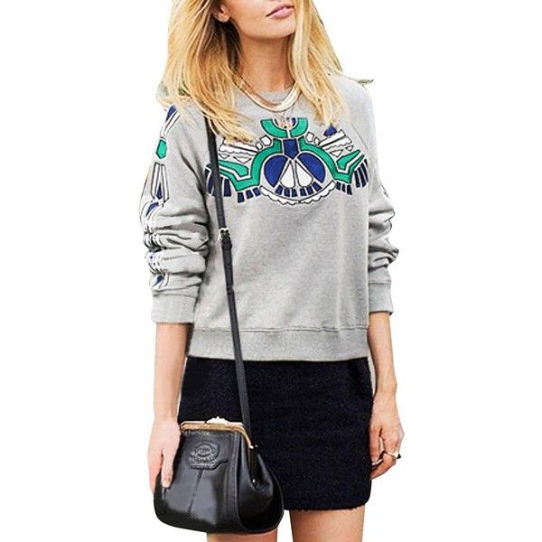 Yoins Plus Size Grey Geometrica Print Sweatshirt-Grey... (39 BAM) ❤ liked on Polyvore featuring tops, hoodies, sweatshirts, grey, grey crewneck sweatshirt, crew-neck sweatshirts, plus size sweat shirts, womens plus tops y gray sweatshirt