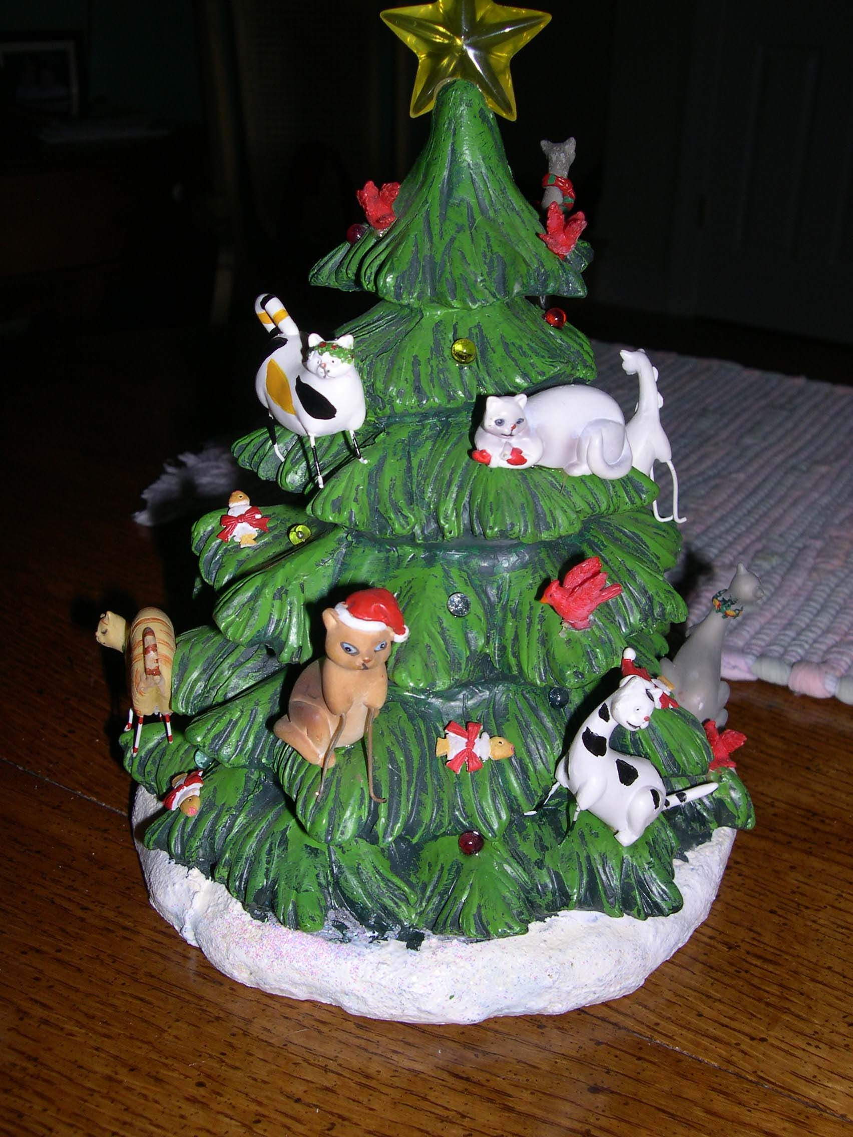 Ceramic Christmas tree with cat decoration. Christmas