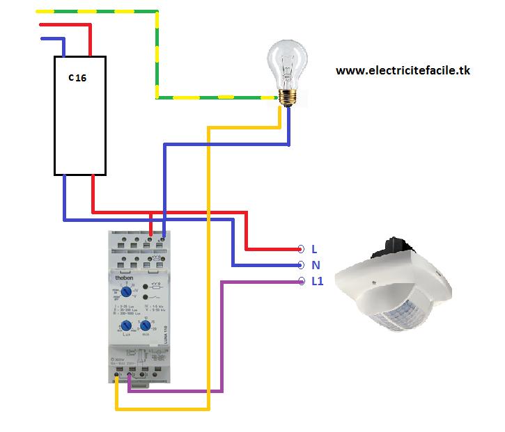 Installer Un Detecteur De Presence Avec Un Interrupteur Crepusculaire Projets Electriques Detecteur De Mouvement Schema Electrique