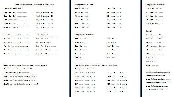 Esercizi Di Matematica Classe Terza Unità Decine E Centinaia Cen