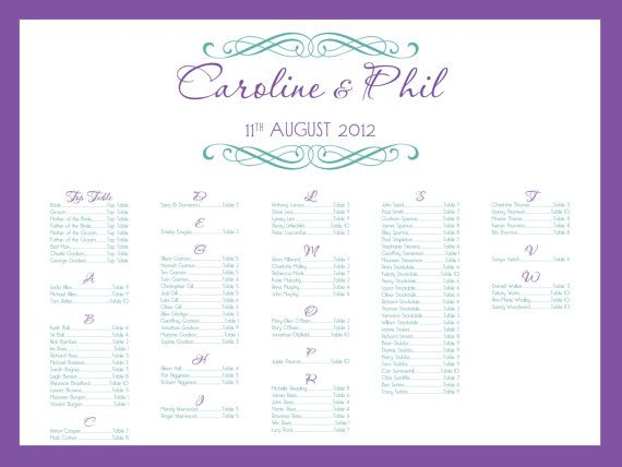 Wedding Seating Chart Printable with Picture   Seating Chart Poster