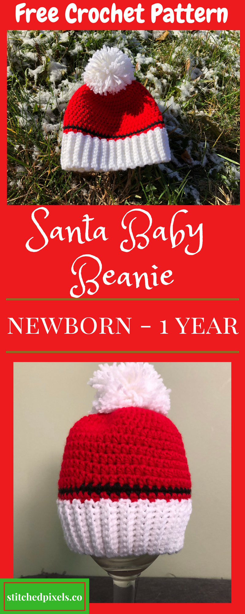 Use this free crochet pattern to make your own Santa Baby Hat in 3 ...