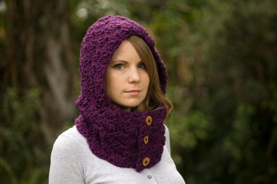 Purple Hooded Cowl, Crochet Hoodie, Eggplant Button Neck Warmer with Hood on Etsy, $42.00