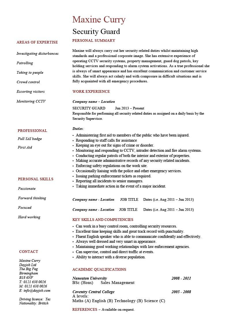Security Guard Resume 1 Job Resume Examples Resume Template