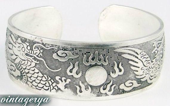 Women  Cuff Tibet Silver Wrist Band Wristlet Carved Cuff Bracelet Dragon And Phoenix