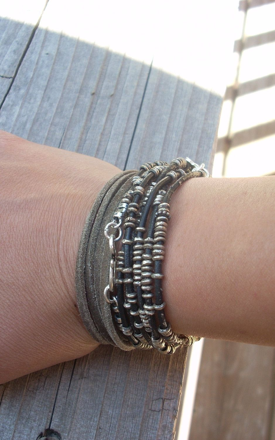 cool leather and silver bracelets