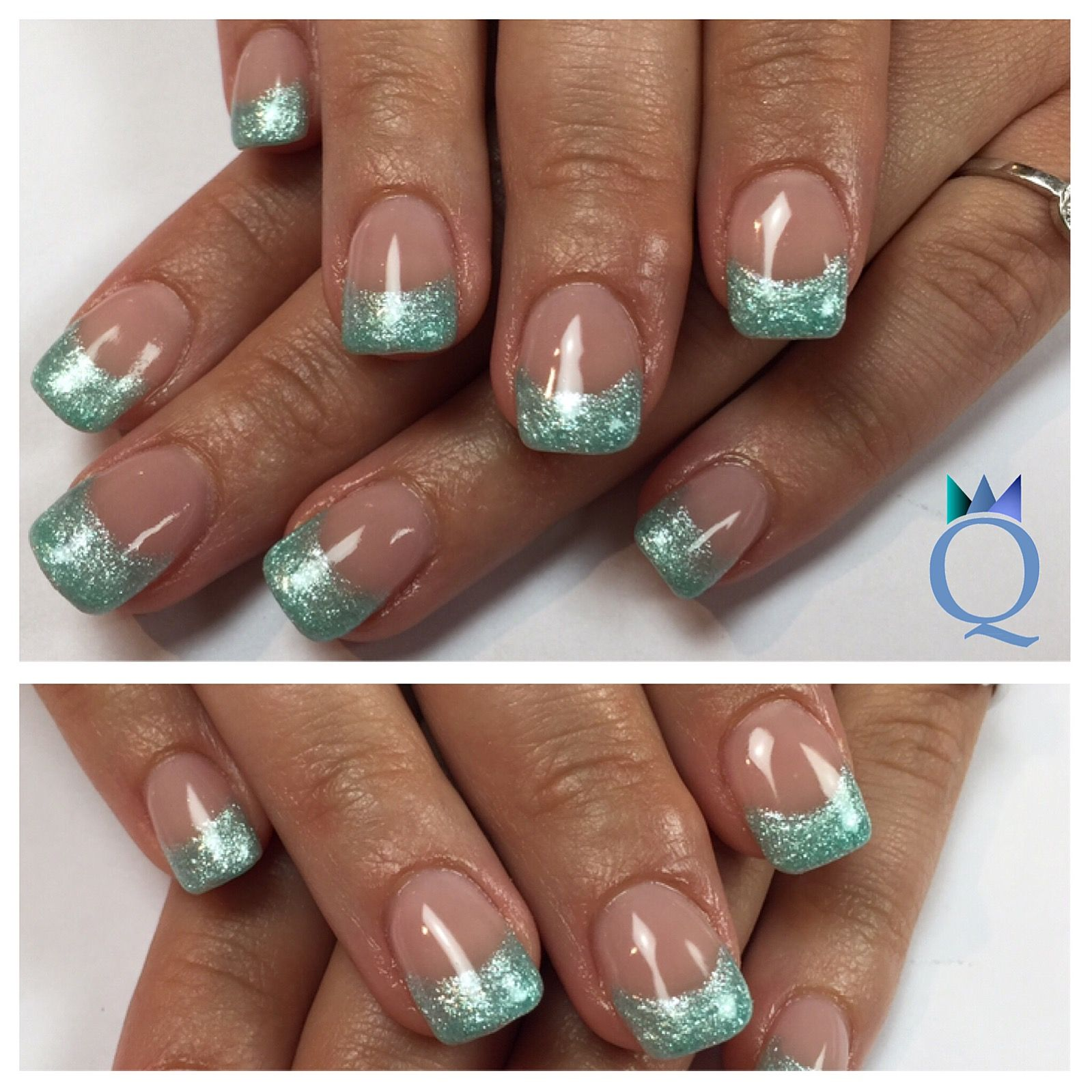 gelnails nails frenchnails turquoise glitter geln gel n gel french t rkis glitzer. Black Bedroom Furniture Sets. Home Design Ideas