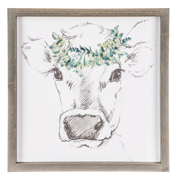 Sketched Cow With Floral Crown Wood Wall Decor Hobby Lobby 1646587 Cow Wall Art Highland Cow Canvas Cow Decor