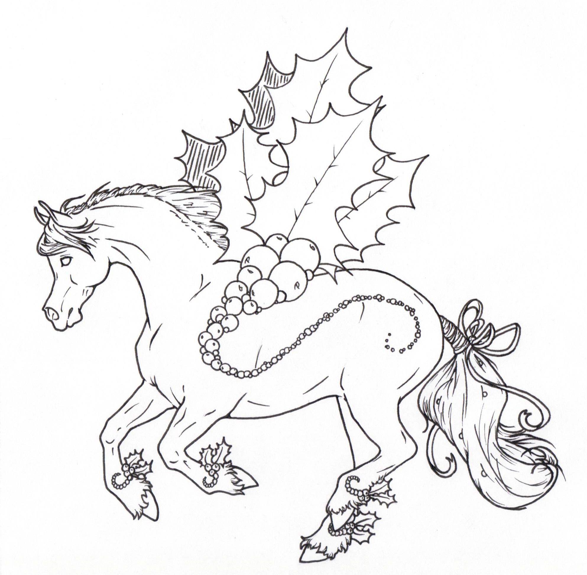 Christmas Horse Drawing.Coloring For Adults Kleuren Voor Volwassenen Coloring
