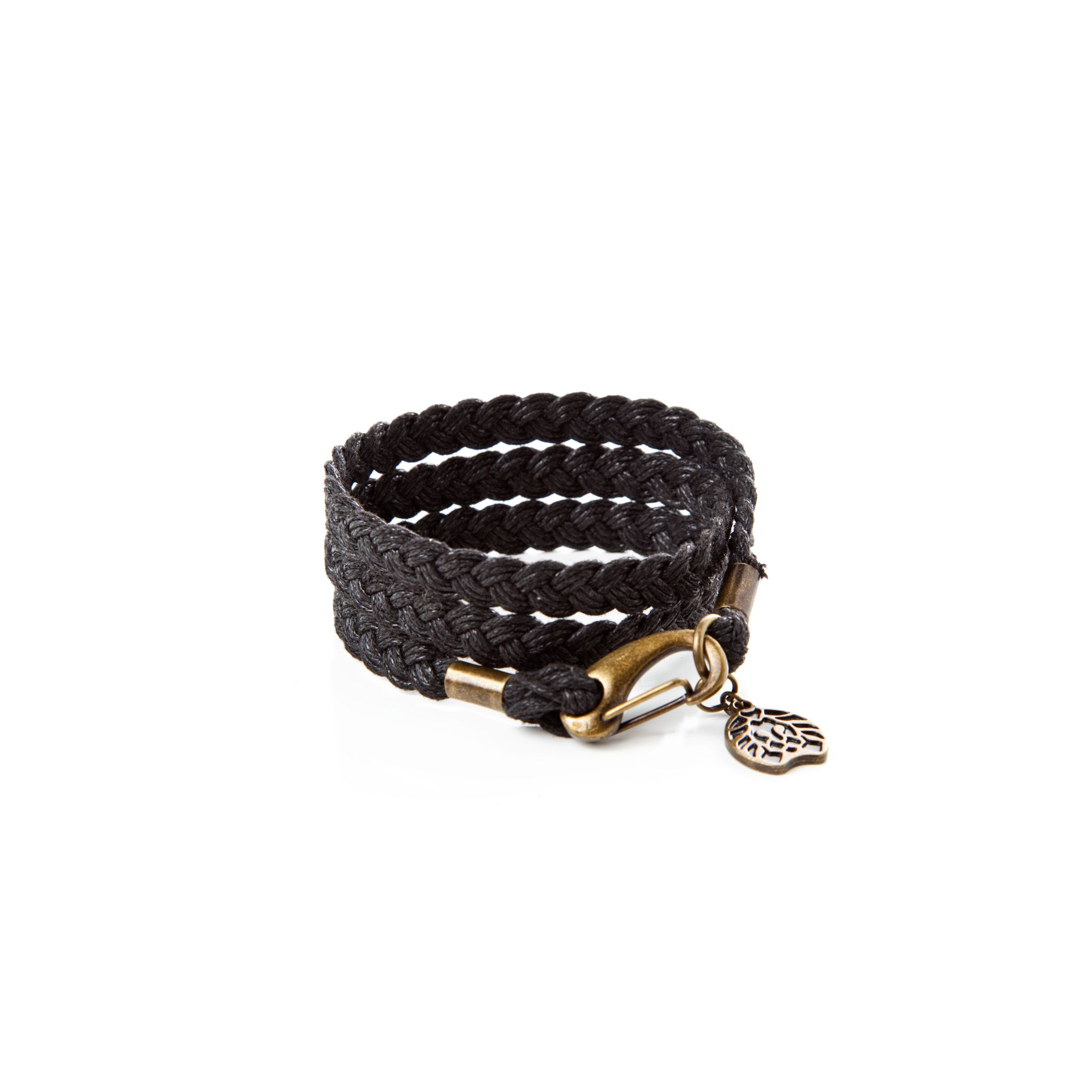 Wrapped wax rope bracelet onyx cotton distressed gold