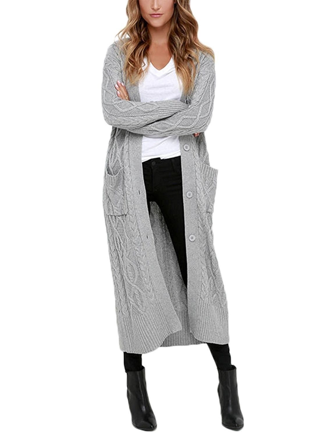 Womens Open Front Button Down Casual Knitted Long Maxi