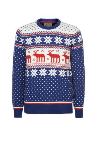 New Look Mobile | Blue White and Red Reindeer Fairisle Christmas ...