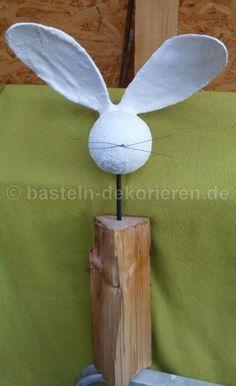 Bastelanleitung Hase aus Holz und Gips #gesso