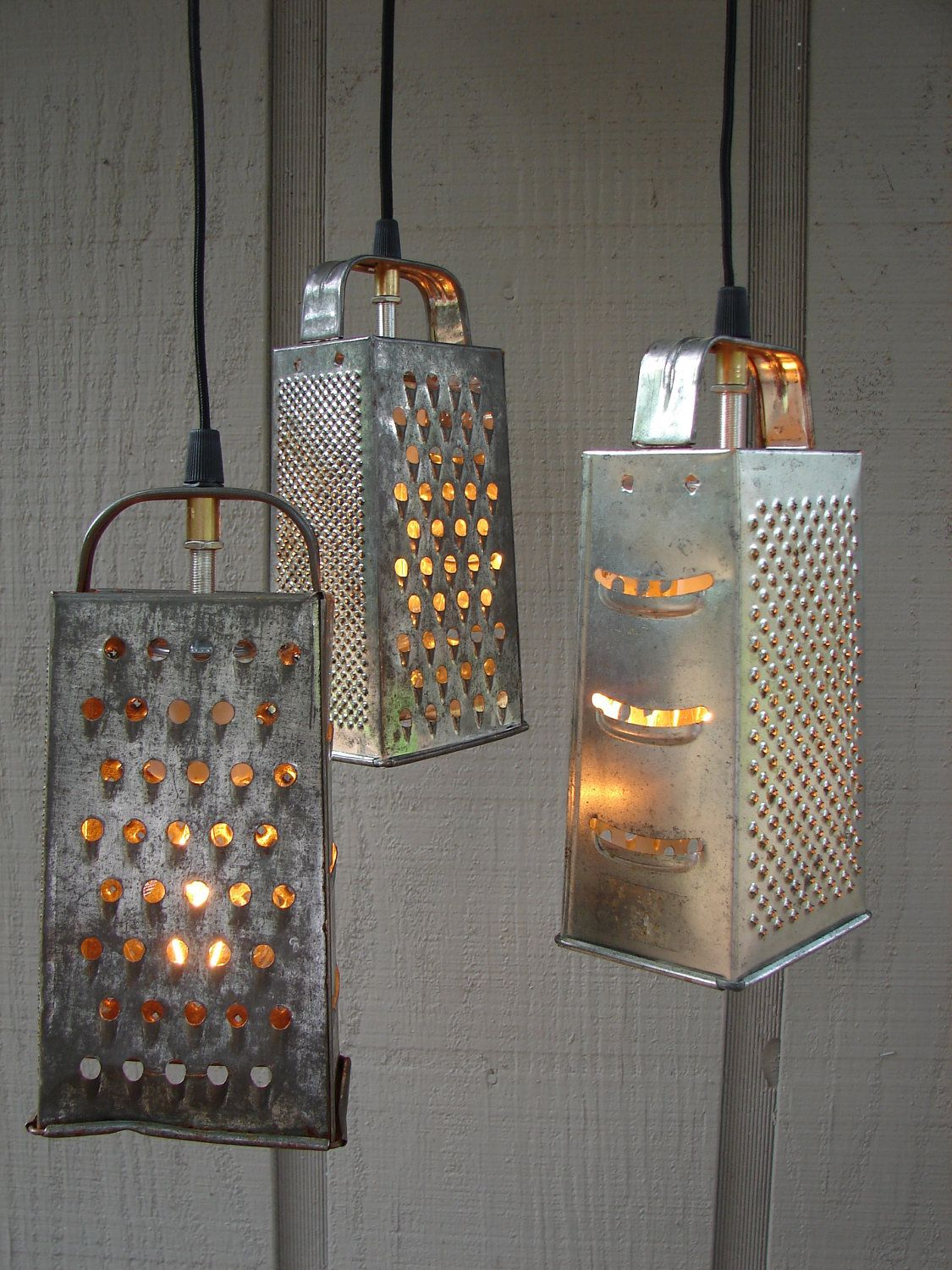 Upcycled vintage colander and grater pendant light upcycled