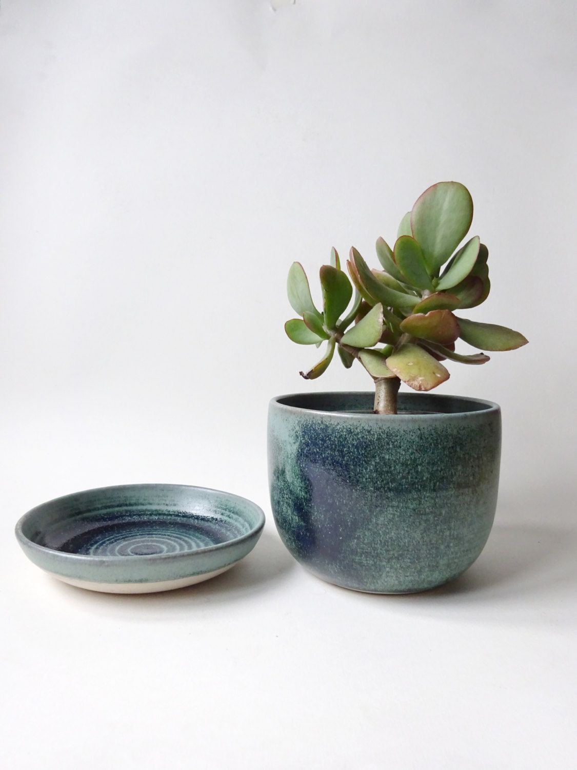 Private Listing For Nader Plant Pot With Drainage Hole And Tray Blue Green Vase Handmade Ceramic Pot With Saucer Drip Tray Ceramic Pot Handmade Ceramics Hanging Vases