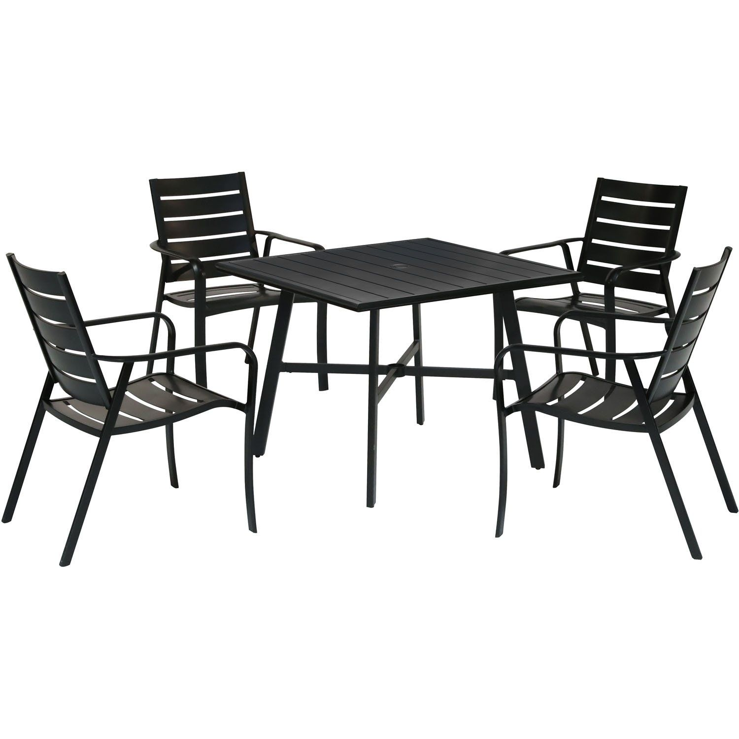 Hanover Cortino 5 Piece Commercial Grade Patio Dining Set With 4