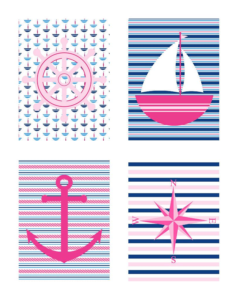 Navy and Pink 5x7 Collection for Home Decor - Pink, Navy, White - Sailboat, Anchor, Compass, Wheel - Colorful, Nursery, Girls Room, Sailor. $40.00, via Etsy.