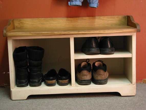 Items similar to White Shoe Bench / White Cubby Bench / Entryway ...